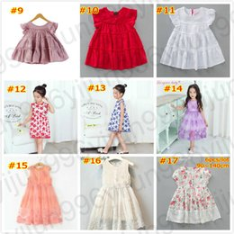 Wholesale Types Collars Dresses - 9 types girl dresses summer red color 2018 princess new floral lace one piece dresses cotton 100cm-140cm children's clothing ruffle Collar