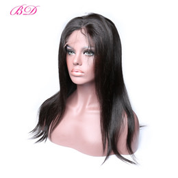 Wholesale popular lace wigs - BD Hair Popular Malaysian Body Wave Straight Human Hair Wigs Full Lace Wigs Medium Size Lace Cap