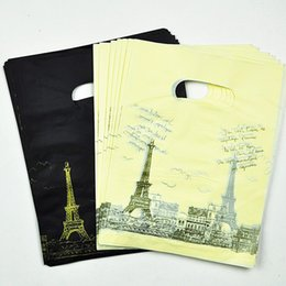 Wholesale bond bags - 15*20cm Black  Yellow Tower Pattern Plastic Shopping Bags With Handle100pcs Plastic Gift Bags Packaging With Handle Jewelry
