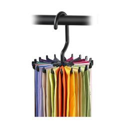 2019 sandalias de acrilico nuevo Organizador de estante de corbata giratorio Organizador de armario de colgar Almacenamiento de bufanda colgante Estante de corbata Estante para 20 corbatas Gancho wn333C