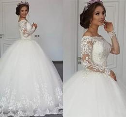 Argentina 2018 nuevo elegante encaje árabe vestido de bola vestidos de novia mangas largas ilusión fuera del hombro apliques más el tamaño vestidos de novia barrer el tren Suministro