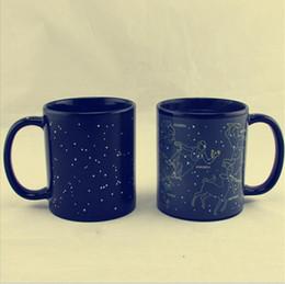 Wholesale Magic Cup Heat - 12 Constellations Discoloration Mug Color Change Mugs Creative Heat Reactive Magic Ceramic Cups Office Coffee Milk Cup OOA4348