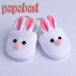 "Wholesale Girls Shoes Rabbit - Papabasi Cute White Bunny Rabbit Slipper Doll Shoes For 18"" American Girl Doll Handmade"