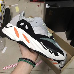 Wholesale Fabric Chalk - Hottest Kanye West Wave Runner 700 Running Shoes 700 Boost Shoes Solid Grey Chalk White Core Black Fashion Casual Sports Sneakers