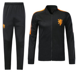 Wholesale Men S Track Suits - Netherlands tracksuit soccer Jacket suit 18 19 chandal Soccer Jersey track suit sports holland jacket set