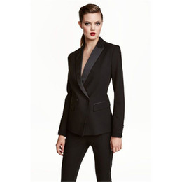 Wholesale Womens White Suit Blazer - Wholesale-Womens Business Work Pant Suits Set Blazer Formal Slim OL Elegant Double Breasted Female Office Uniform Evening 2 Piece Set