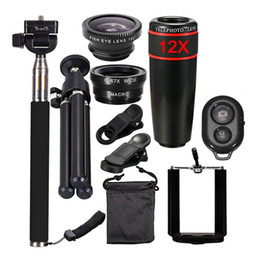Широкоугольный объектив телескопа онлайн-12X Zoom Camera Telephoto Lens Wide Angle Phone Telescope Clip Lens Kit Remote With Selfie Stick For Smart Phone