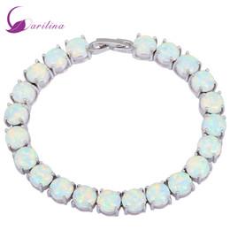 Wholesale Teen Bracelets - Glam Luxe Mysterious Silver White Fire Opal Bracelets & bangles for teen girls pulseiras femininas 19.5cm 7.67 inch B434