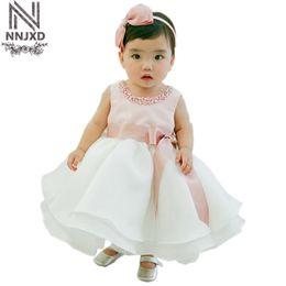rosa babykleid monate Rabatt 2017 neue Stil Prinzessin Baby Kleid Elegantes Kleid Rosa mit Weiß für Baby Taufe Festival 0-24 Monate Kleidung