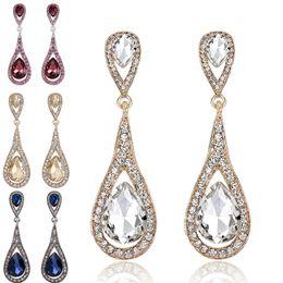 Wholesale rhinestone chandelier wedding earrings - Diamond Crystal Water Drop Earrings Studs Dangle Wedding Fashion Jewelry for Women Gifts DROP SHIP 170769