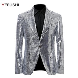 Wholesale Xs Sequin Dress - YFFUSHI Fashion Men Suit Jacket Solid Sliver Sequins Jacket Masculino Party Stage Perform Dress Latest Design Plus Size 6XL