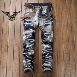 Wholesale popular men s jeans - mens jeans robin Motorcycle biker jeans rock revival skinny Slim ripped Popular Cool beggar Mottled hole true pants men designer jenas 026