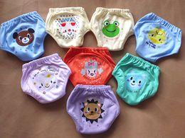 Wholesale Potty Training Cartoons - 4 layers cartoon baby training pants waterproof diaper pant potty toddler panties newborn underwear Reusable pants dog bear frog 8 designs