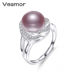 Wholesale 925 Silver Rose Flower Ring - Real Freshwater Pearl Ring 10-11mm Silver 925 Jewelry Rose Flower Wedding pearl Ring For Women Valentines Day Gift