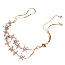 Wholesale B 52 - HIBRIDE JEWELRY Elegant Flower Austrian Crystal Adjustable Bracelets Gold Color Women Wedding Bracelets For Gifts B-52