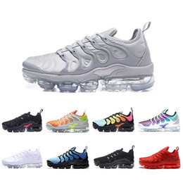 Lejía de pvc online-nike air vapormax plus tn2018 TN Plus Running Shoes Classic Cool Grey Red Shark Diente blanqueado aqua Negro rojo Hyper Violet Hyper Blue Grape TRIPLE BLACK Sneakers
