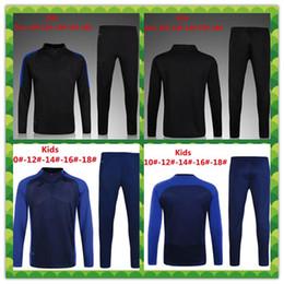 Wholesale France Soccer Jacket - children long sleeve Top qualit 16 17 France kids football jacket tracksuit 2017 kante de foot POGBA jacket Training suit