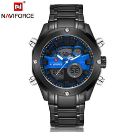 Wholesale Full Color Led Display - Naviforce Men 30M Waterproof Watch Full Stainless Steel Analog Digital Display LED Watches Mens Military Clock Relogio Masculino 9088 DHL