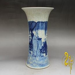 Wholesale Hand Painted Porcelain Vases - Jingdezhen antique porcelain famous hand-painted blue and white porcelain figure flower Gu ceramic vase cap tube Decoration