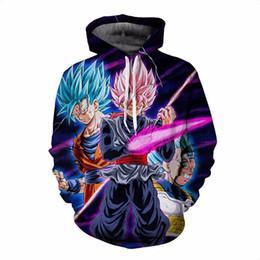 hoodie preto da bola do dragão z Desconto Dragon Ball Z Hoodies Homens 3D Impresso Pullovers Sportswear Dragonball Super Saiyajin 4 Son Goku Preto Zamasu Camisolas