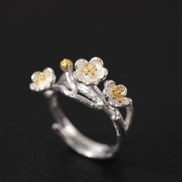 Argentina Plata de ley 925 Estilo chino original Hecho a mano de plata El anillo de la flor del ciruelo anillo de piedras preciosas a granel encanto Suministro