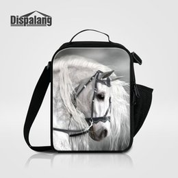 Impresión termo online-Cool Brown Horse Printing Lunch Bag para niños niños Animal New Fashion Picnic Food Lunch Box Bags Women's Thermo Lancheira Lunchbox con aislamiento