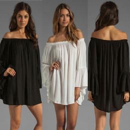 Wholesale Long Sleeve Chiffon Tunic Dress - Women Boho Solid Ruffle Sleeve Sexy Off Shoulder Mini Dress Tunic Summer Beach Dress