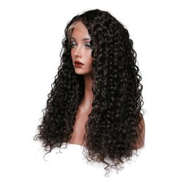 natural curls lace wig Promo Codes - Peruvian Virgin Hair Kinky Curl Color Black Lace Front Wigs Full Lace Human Hair Wigs 150 Density Wigs for White Women
