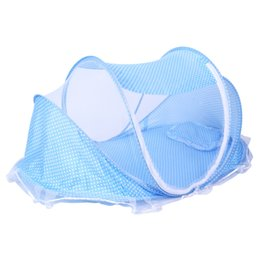 Wholesale netting for canopy - Summer Foldable Baby Infant Bed Canopy Mosquito Net with Cotton-padded Mattress Pillow Tent for 0-2 Years Old Baby Children