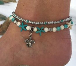 Wholesale beads ornament - 2018 selling Bohemian beach conch turtle pendant Sea pearls anklets M beads rin Tassel hanging women bead Foot ornaments 19