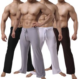 Wholesale yoga pants men loose - Mens Soft Fitness Yoga Pants Loose Casual Sports Long Pants Low Rise Trousers Homewear Comfort Sleepwear Nightwear