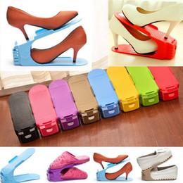 Wholesale wholesale shoes displays - Colorful Adjustable Shoes Display Rack Space Saving Shelf Practical Home Storage Holder Creative Plastic Organizer NNA145