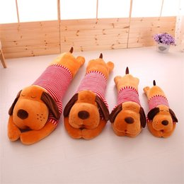 Wholesale Lying Dog Toys - Wholesale- 75CM Cute Stripe Giant Lie Prone Papa Dog Plush Toy Stuffed Dolls Sleeping Pillow 2018 Baby Best gifts for Children