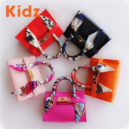 Wholesale Baby Girl Brand Purses - KIDZ Children's Fashion Leather Handabgs with Scarf Girls Famous Brand Totes Kids Classice handbag Preschool baby small purse Black KZ003