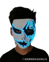 2019 led luce fantasma Spnvebh New El luce fredda incandescente maschera dipinta a mano Led Prom partito Halloween Ghost Walking Street Dance Mask PAM12 led luce fantasma economici