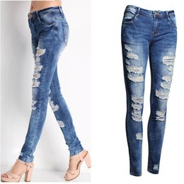 Wholesale Womens Jeans Xl - 2017 Hot Fashion Ladies Cotton Denim Pants Stretch Womens Bleach Ripped Skinny Jeans Denim Jeans For Female new arrival