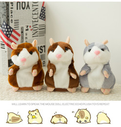 Wholesale Hamsters Free Shipping - 15cm Cute little hamster who can speak vocally Voice recording vole Children's plush toys wholesale DHL free shipping