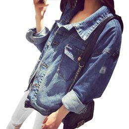 Wholesale Blue Jean Jacket Woman - High Quality Handsome Punk Female Small Round Collar Denim Jacket Vintage Women Autumn Spring Jacket 2017 Fashion Jean Jacket