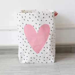 Wholesale Cheap Fabric For Cloth - Free shipping Folding Cheap Laundry Basket Hamper for Dirty Cloth Bathroom Dirty Cloth Basket Fashion Cotton Linen Fabric Household eco bag