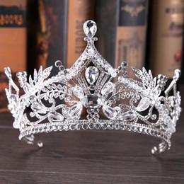 big princess tiaras 2019 - Vintage Big Bridal Crown Rhinestone Royal Wedding  Queen Crowns Princess Crystal aadb8af11bca