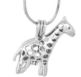 Wholesale Giraffe Gold - 18kgb Pretty giraffe Pearl Cage Pendants Oyster Lockets For DIY Wish Love Pearl Pendant Necklace Jewelry Good Gift Women P89