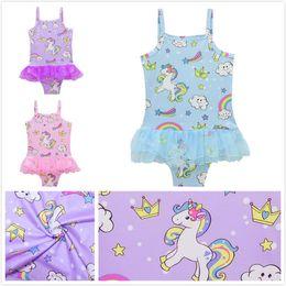 Wholesale One Piece Striped - Baby Girl Unicorn Print Swimwear Cute Summer One piece Swimsuits Princess Bathing Suit Bikinis Kids Cartoon Beachwear Lace Skirt Bodysuit
