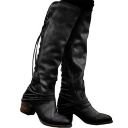 Argentina YJSFG HOUSE Tallas grandes hasta la rodilla para mujer Botas altas tacones gruesos con cordones Correa de borla Zapatos de otoño Botas de mujer vintage Calzado supplier lace up tassel boots Suministro