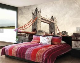 Wholesale Bridge Wall Art - Vintage photo wall paper london bridge European city landscape vinyl wallpaper rolls living room wall art decor murals