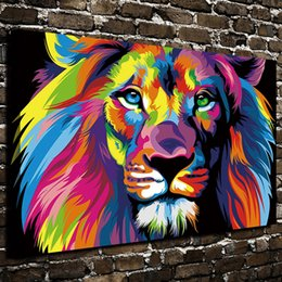 oil colour paintings Promo Codes - Modern Giclee Dazzle Colour Lion Painting Pictures Abstract Art Print on the Canvas Poster Painting Prints Wall Decor Poster