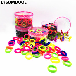 Wholesale Hair Ponytail Holders Jewelry - 100pcs Girl Elastic Hair Bands Ponytail Holder Cotton Hair Baby Accessories Solid Kid Ring Mini Rope Children Jewelry Accessory