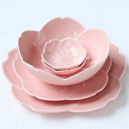 Piatti di stoviglie online-5 pz / set Rosa Sakura fiore petalo piatto piatti vassoio di frutta insalatiera vassoio spuntino piatti piatti set di stoviglie