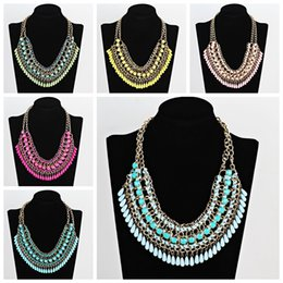 Wholesale chunky bib necklaces - Hot elegant women bohemia knitting chunky necklace choker bib statement collar necklace jewelry