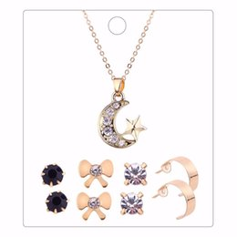 Wholesale Pic Gold - 5 Pics a Set New Gold Color Moon Star Shaped Pendant Necklace 4 Pairs Bowknot Round Crystal Earring Set for Women Gift