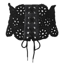 cintos de corset de moda larga Desconto KLV Moda Chic Mulheres Lace Up Espartilho Largo Cinto Forma-Fazendo Lace Oco Elástico Cós Cummerbunds Cintos Branco Preto